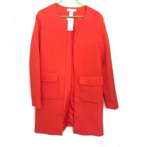 H&M Red Coat - Large Front Pockets
